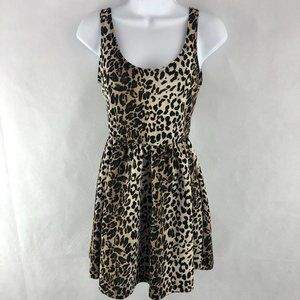 Timing Tan Black Leopard Print Skater Dress S